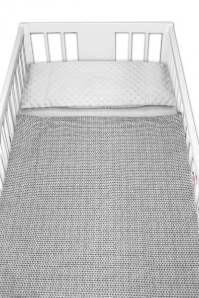 2-dílné bavlněné povlečení s minky Baby Nellys, Pletený cop - šedý, drobný vzor - 120x90