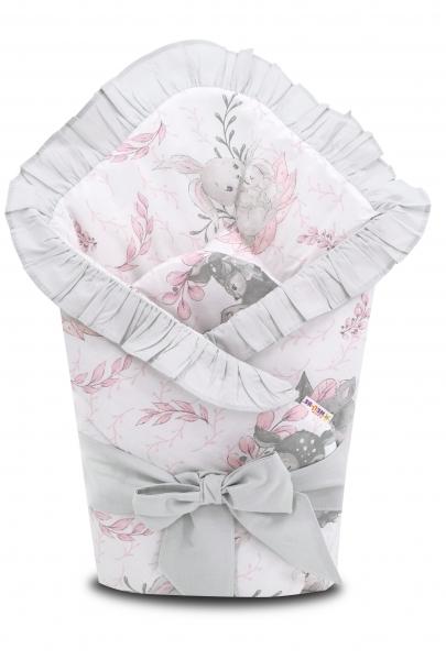 Baby Nellys Rychlozavinovačka 80x80 cm s volán. a stuhou LULU natural, růžová, šedá