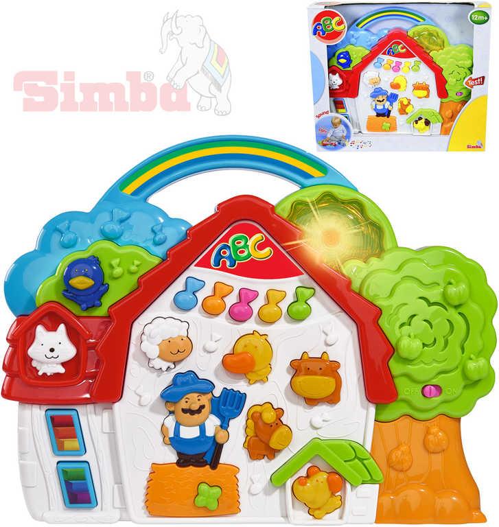 SIMBA Domeček hudební farma plastová zvířátka s písničkami Světlo Zvuk
