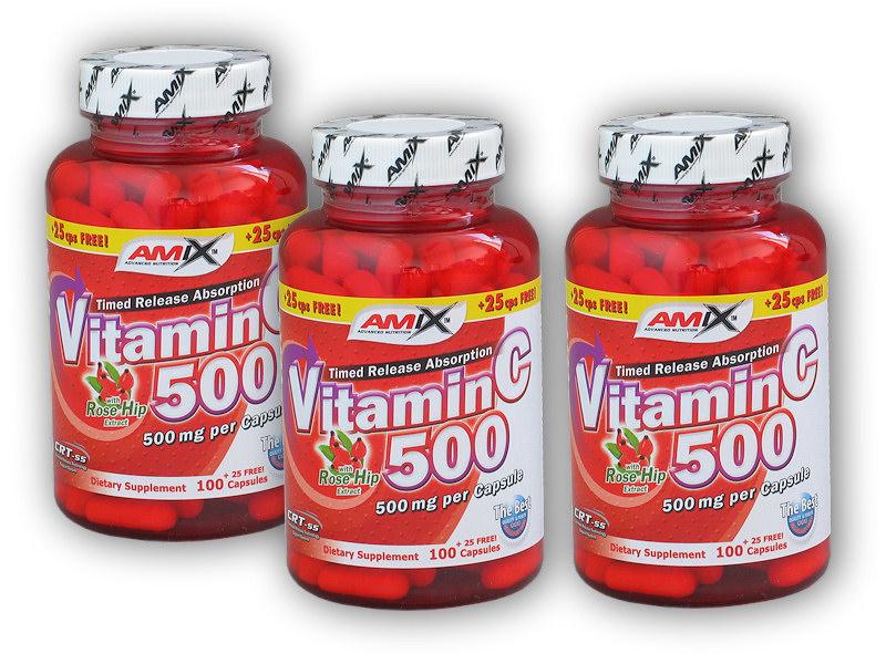 2x Vitamin C 500mg + Rose H.125cps+ 1x Zdarma