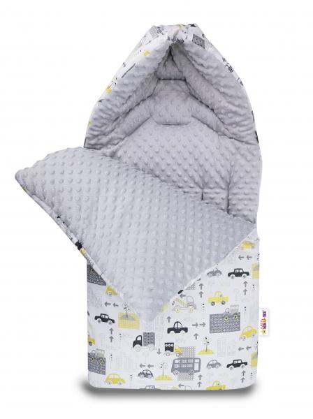 Bavlněný fusak Baby Nellys, minky, Městečko, 45 x 95 cm - bílý/minky šedá