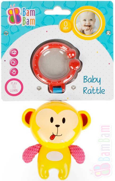 ET BAM BAM Baby chrastítko opice přívěsek s klipem pro miminko