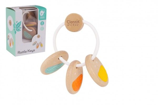 Chrastítko klíče dřevo/plast v krabičce 12x16x8cm 6m+