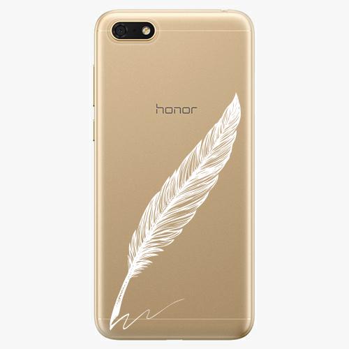 Silikonové pouzdro iSaprio - Writing By Feather - white - Huawei Honor 7S