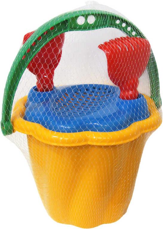 PL Set na písek kyblík vroubkovaný se sítkem a 2 nástroji mix barev