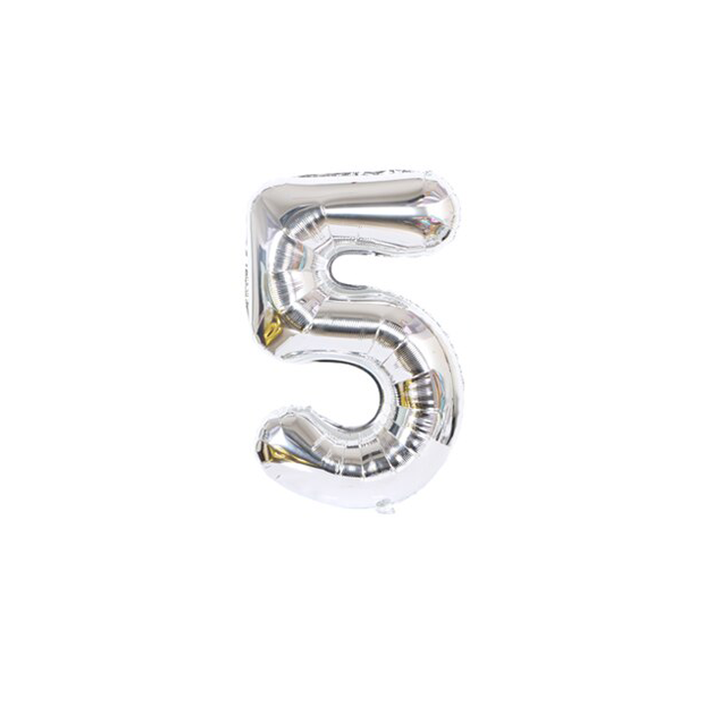 Nafukovací balónky čísla maxi stříbrné - 5