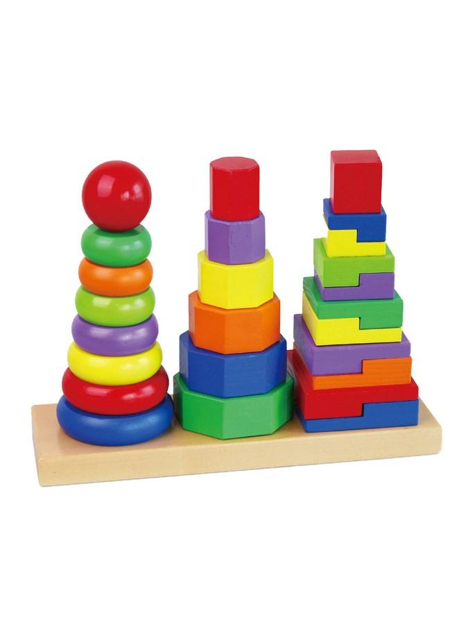 Dřevěné barevné pyramidy pro děti Viga - multicolor