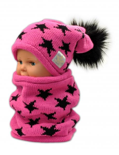 Podzimní/zimní čepice s komínkem - malinová - hvězdičky černé - 3-8let