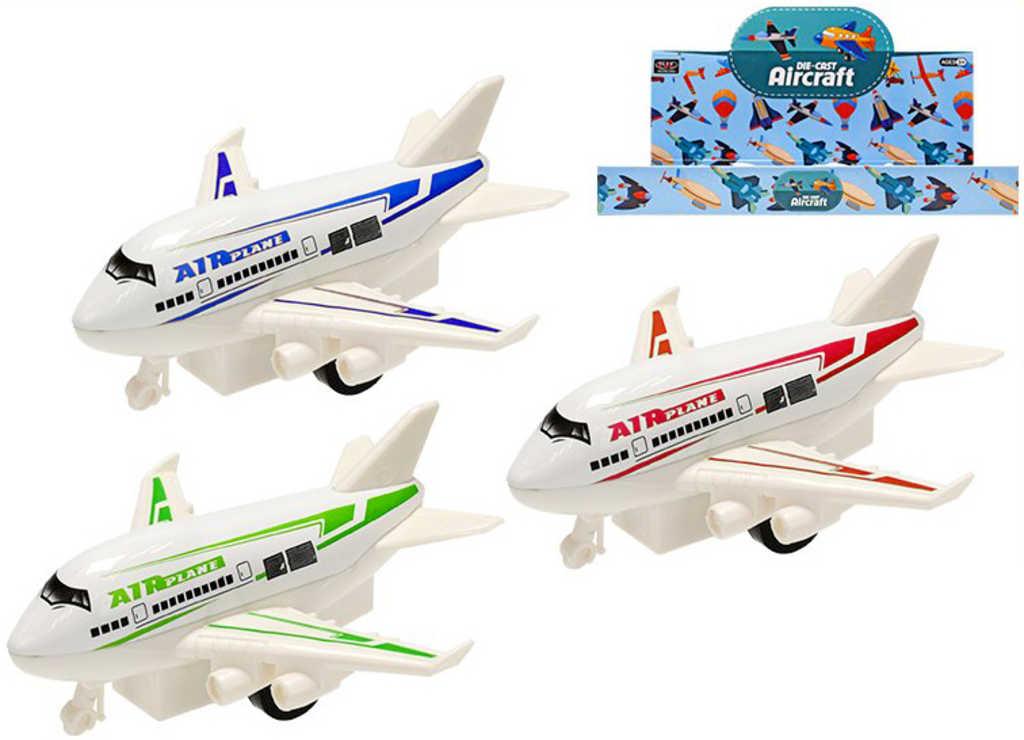 Letadlo dopravní kovové 9cm na zpětný chod různé barvy
