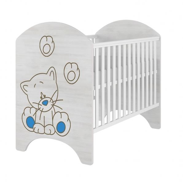 BabyBoo Dětská postýlka LUX s výřezem KOČIČKA modrá 120x60cm