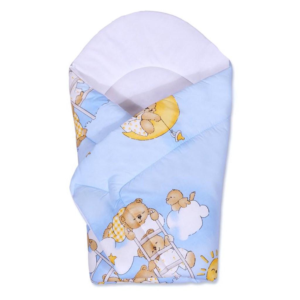 Dětská zavinovačka New Baby - s medvídkem - modrá