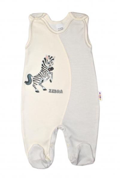 Baby Nellys Kojenecké bavlněné dupačky, Zebra - smetanové, vel. 74 - 74 (6-9m)