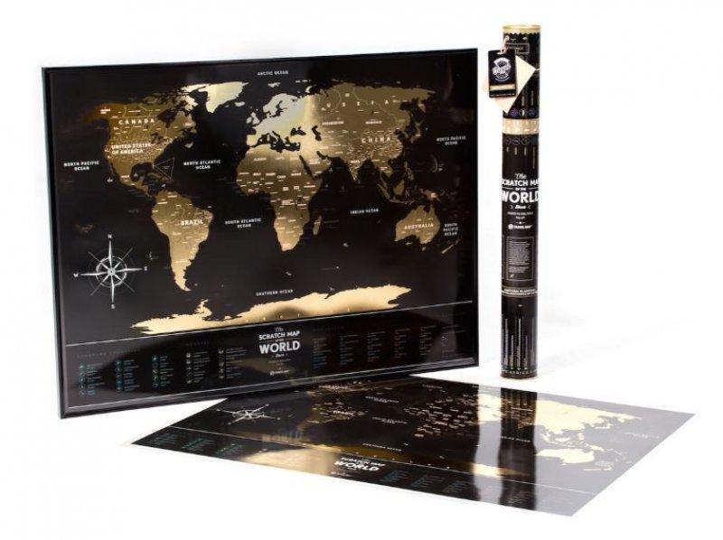 Stírací mapa světa - Premium Black