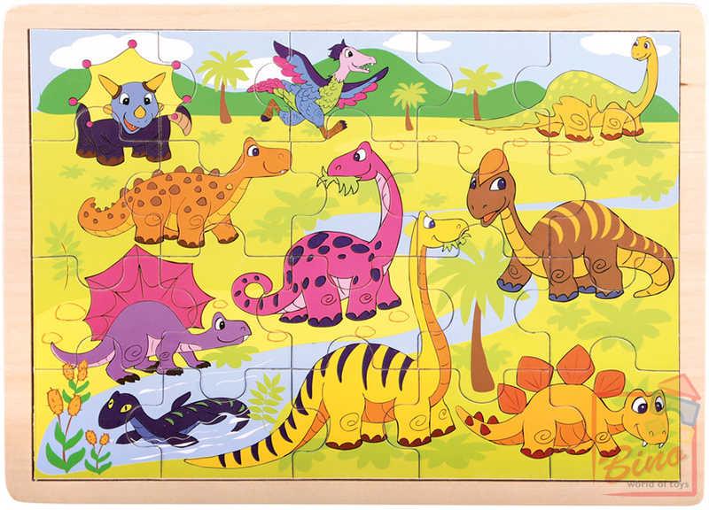 BINO DŘEVO Puzzle Dinosauři * DŘEVĚNÉ HRAČKY *