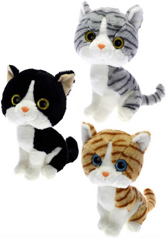 PLYŠ Kočka sedící 30 cm velké oči - 3 barvy