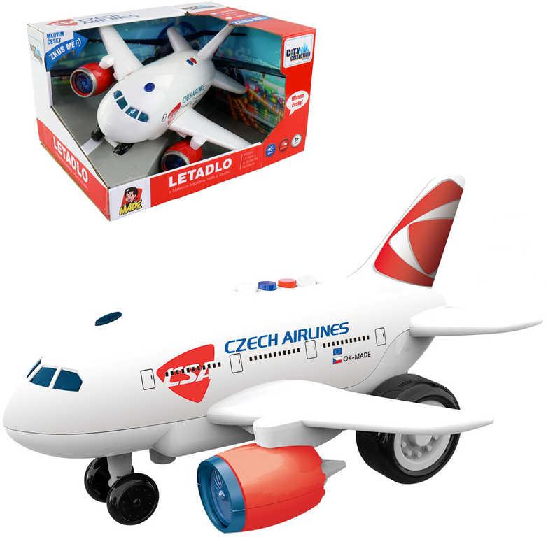 Letadlo ČSA s hlášením kapitána a letušky na baterie CZ Světlo Zvuk