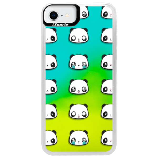 Neonové pouzdro Blue iSaprio - Panda pattern 01 - iPhone SE 2020
