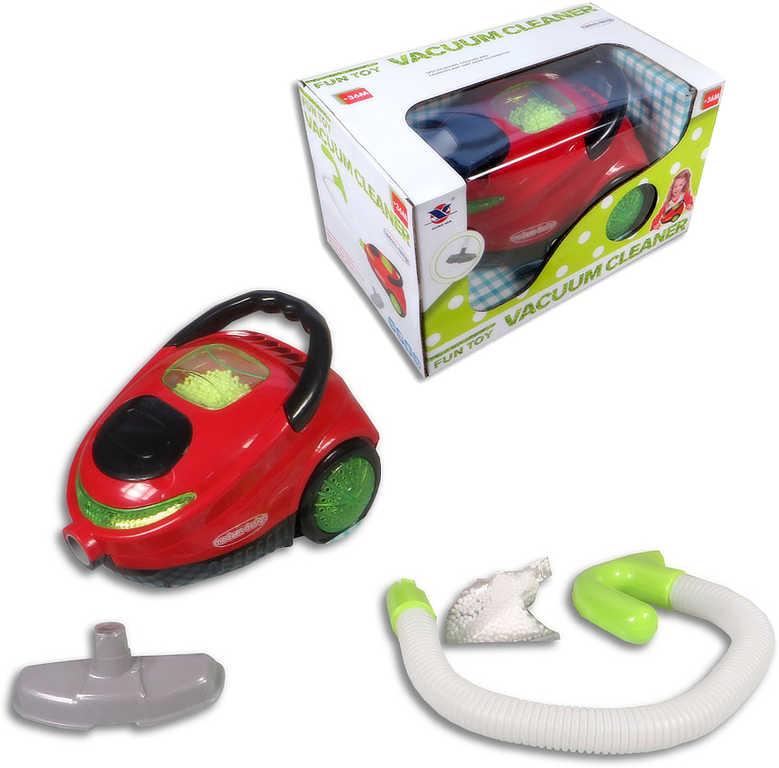 Vysavač dětský 20cm funkční set s kuličkami na vysávání na baterie plast Světlo