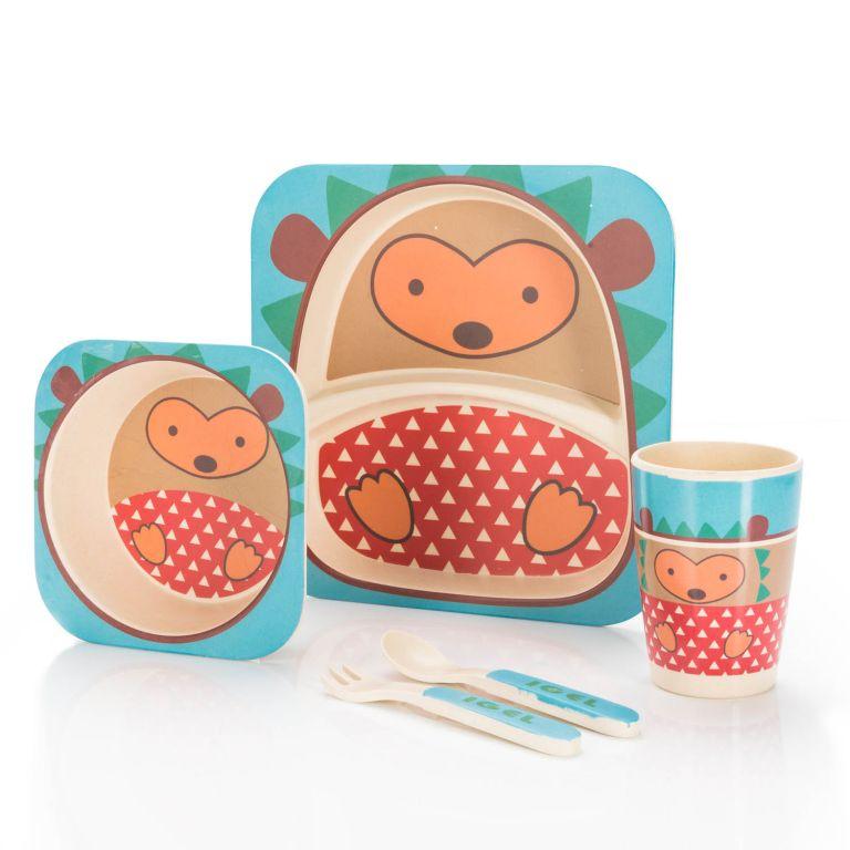 Dětská jídelní sada z bambusu - ježek