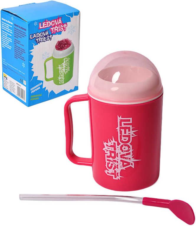 MAC TOYS Výroba ledové tříště 2 barvy set hrnek s víčkem a brčkem plast