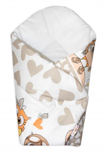 Novorozenecká zavinovačka Cute Owls - béžová