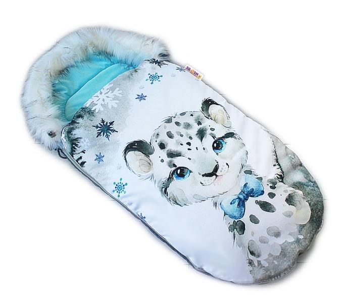fusak-baby-nellys-winter-friends-lux-velvet-s-kozesinkou-105x55-cm-gepardik-tyrkys