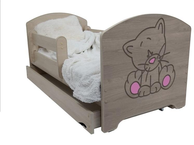 Dětská postel Kočka růžová - barva Dub Sonoma + matrace zdarma - 160x80