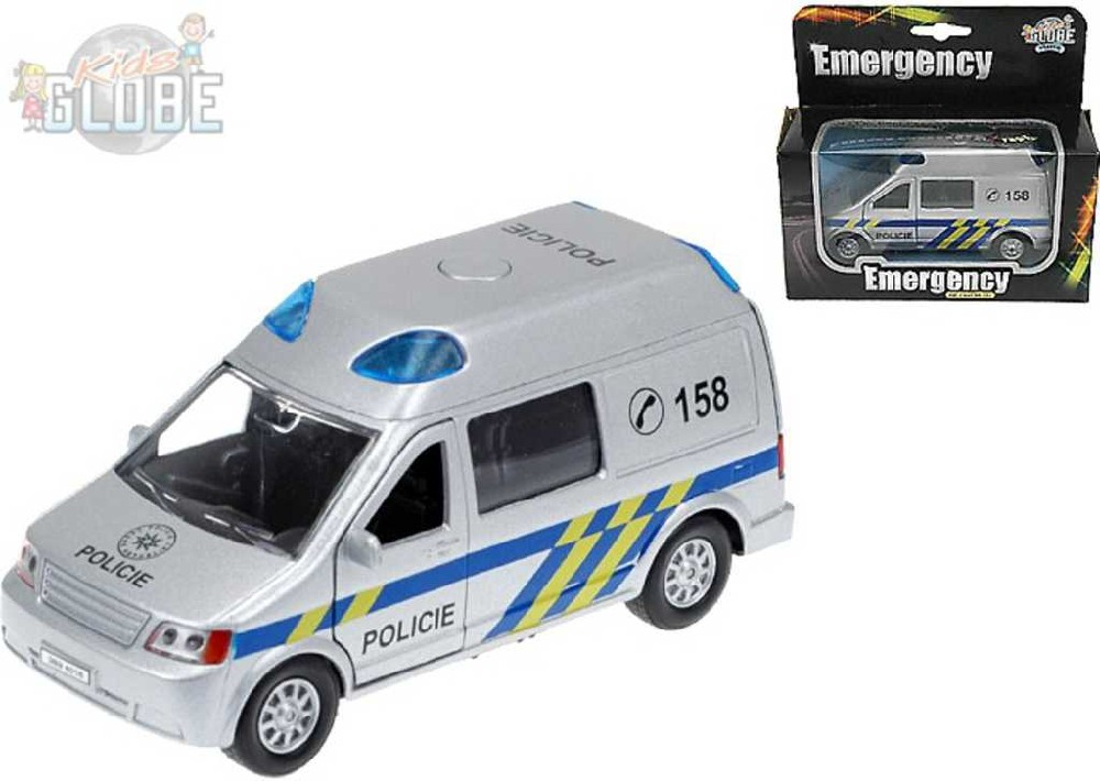 KIDS GLOBE Auto Policie 14 cm kovové se světlem a zvukem