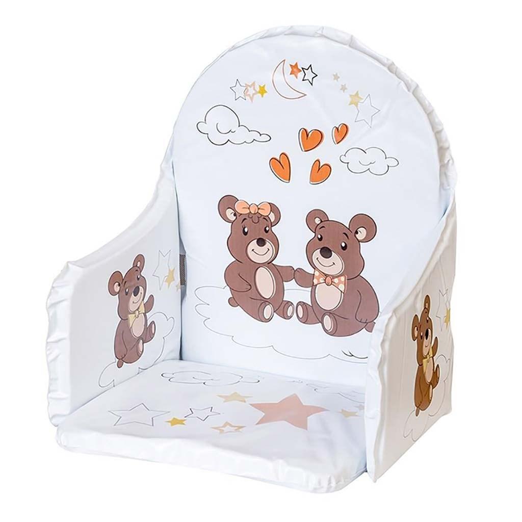 Vložka do dřevěných jídelních židliček - typu New Baby Victory bílá medvídci - šedá
