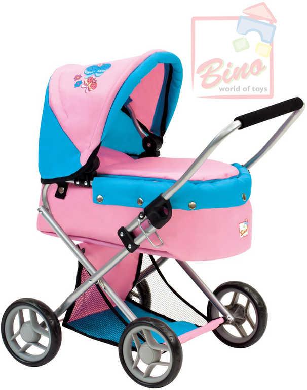 BINO Kočárek pro panenku miminko menší s motýlky růžovomodrý