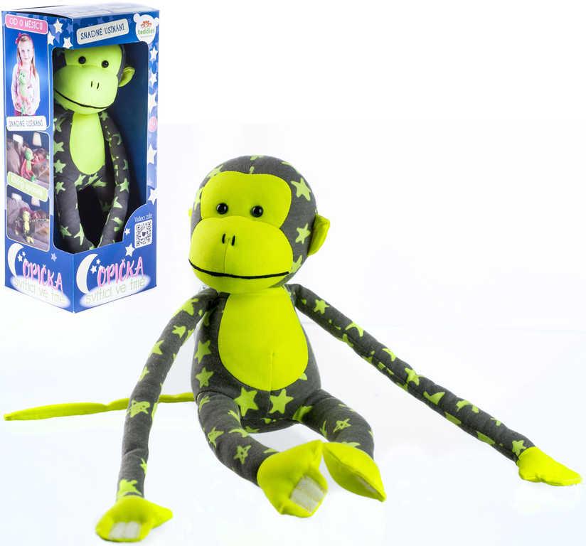 PLYŠ Baby opička svítící ve tmě 45cm šedo-žlutá s hvězdičkami fosforeskující
