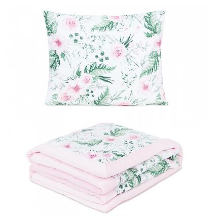 2-dílná sada - oboustranná dečka Velvet 75 x 100 cm s polštářkem - Květiny /sv. růžová