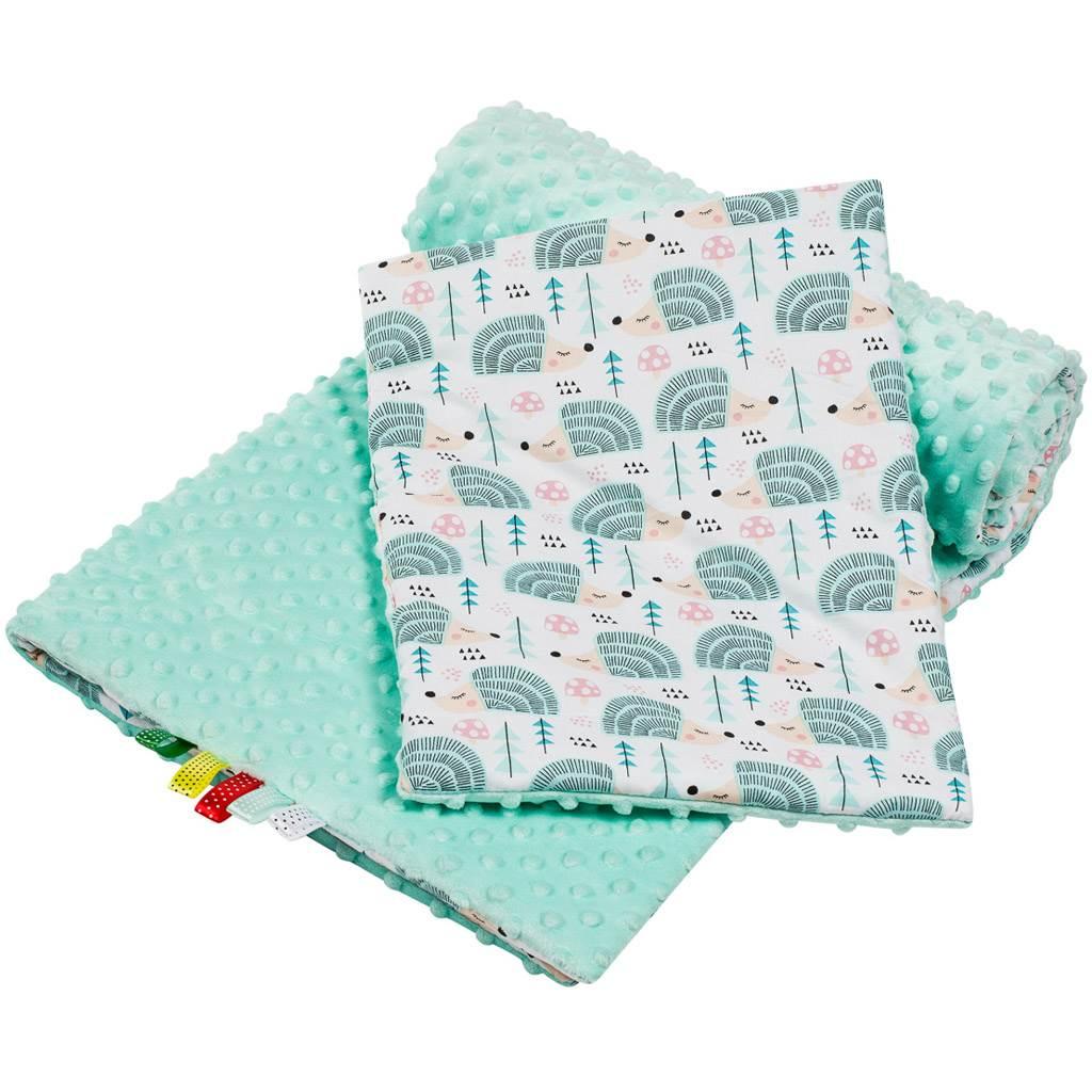 Oboustranný Set z Minky do kočárku New Baby ježek mátový - zelená