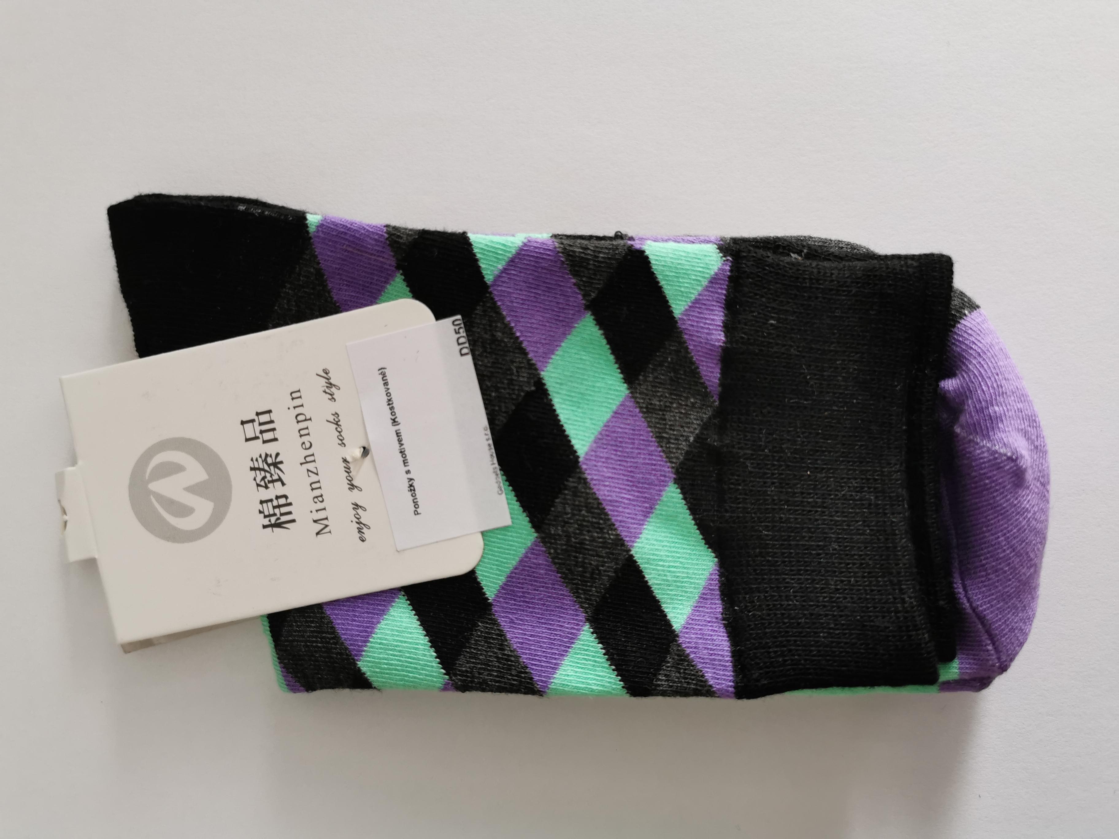 Ponožky s kostkovanými vzory - Černá se zeleno-fialovou