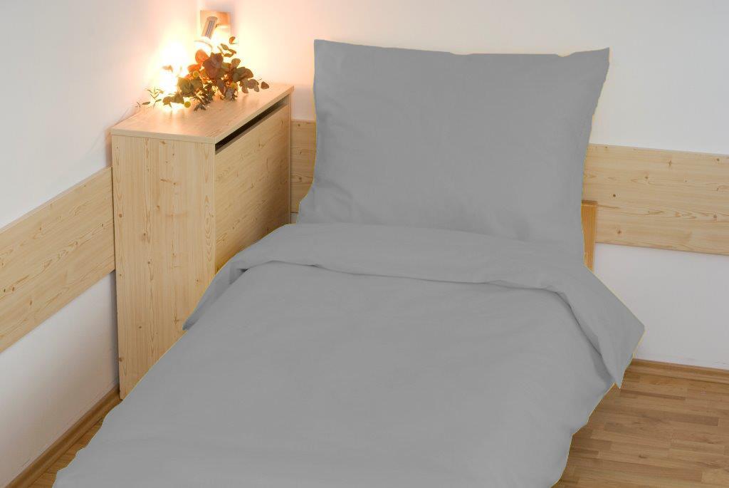 Povlečení bavlna UNI 140x200, 70x90cm světle šedá, Výběr zapínání: - hotelový uzávěr