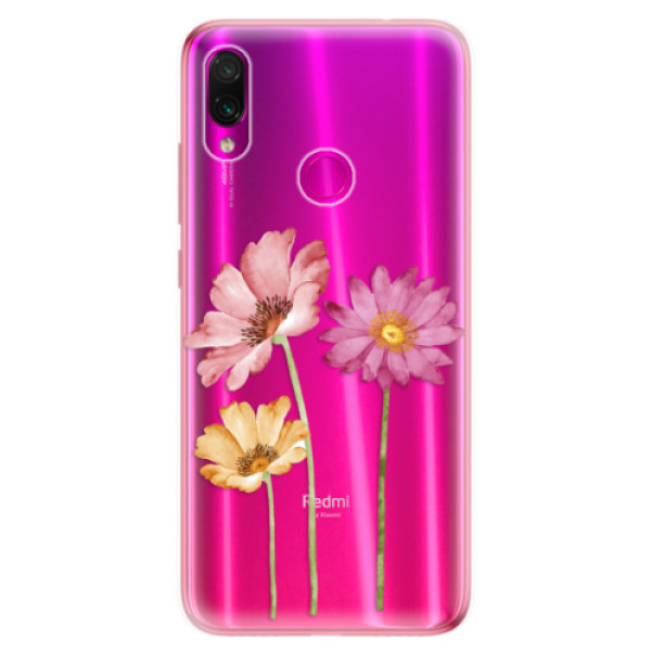 Odolné silikonové pouzdro iSaprio - Three Flowers - Xiaomi Redmi Note 7