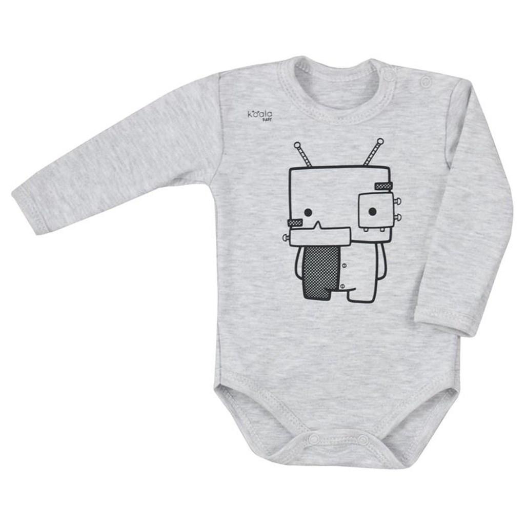 Kojenecké body s dlouhým rukávem Koala Robot šedé - šedá/80 (9-12m)