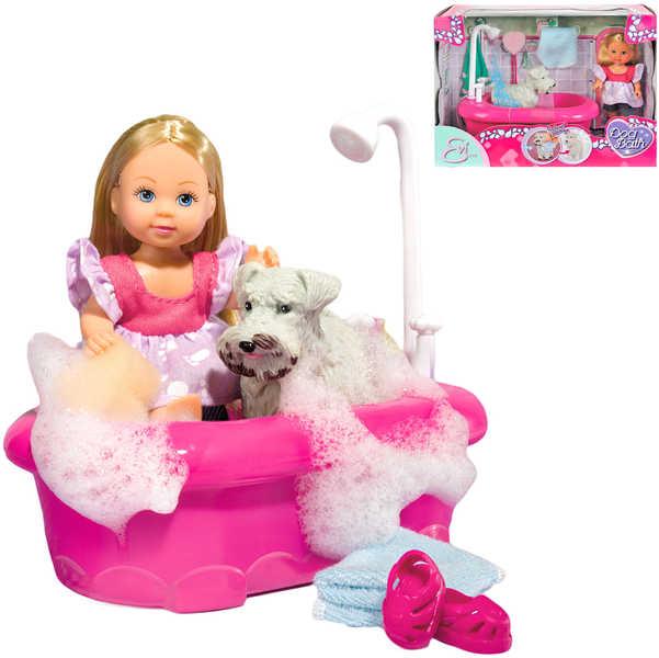 SIMBA Panenka Evička koupe pejska set s vaničkou a doplňky