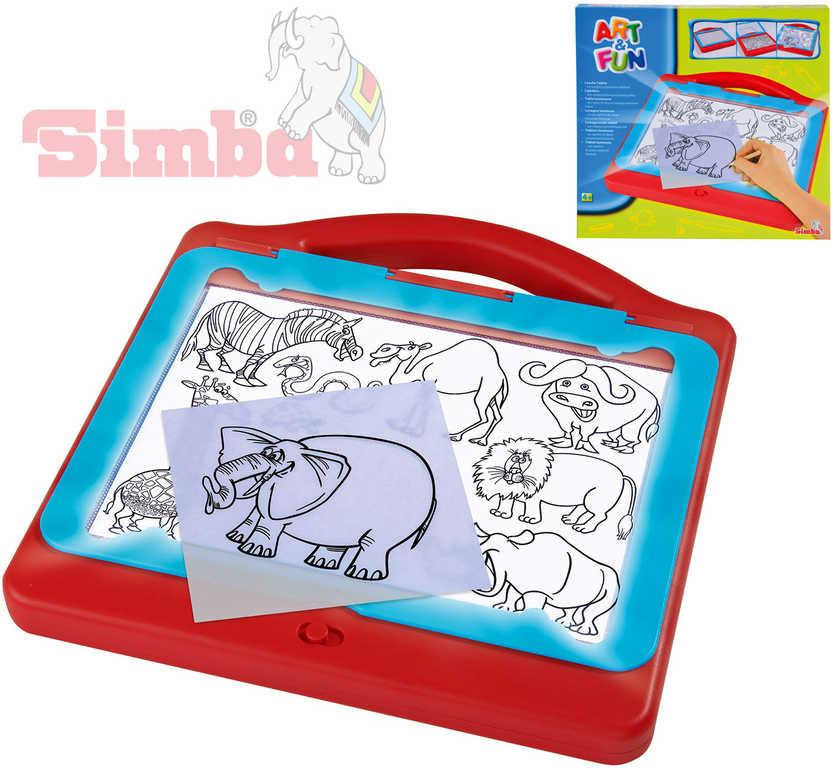 SIMBA Tabulka kreslicí světelná set s předlohami a doplňky plast světlo