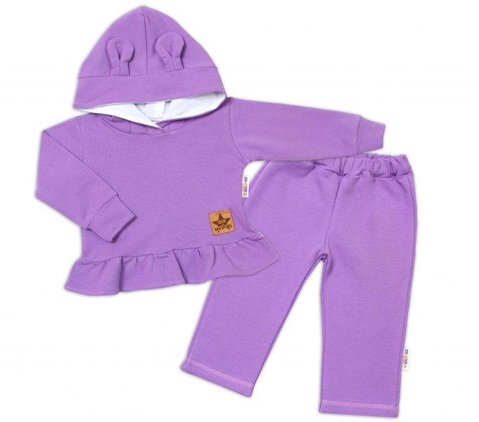 BABY NELLYS Dětská tepláková souprava s kapucí a oušky