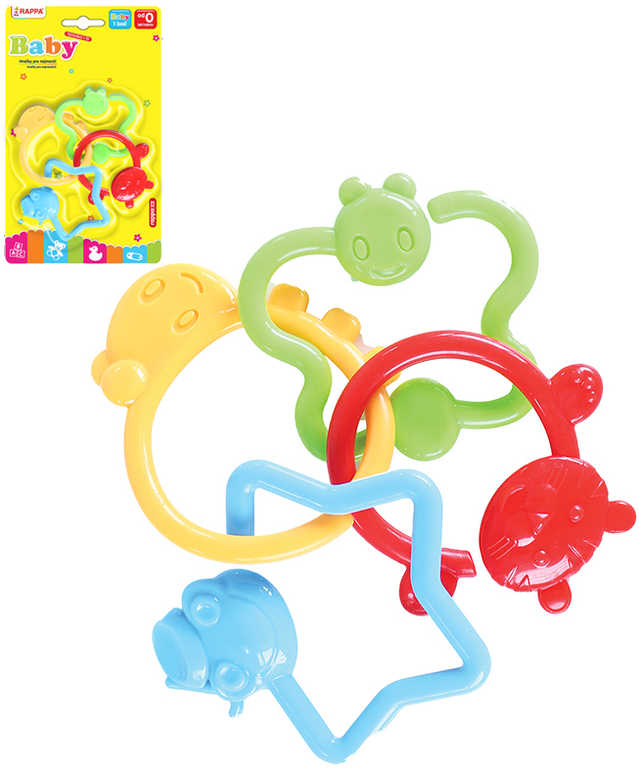 Baby chrastítko spojené tvary zvířátka 4ks pro miminko plast