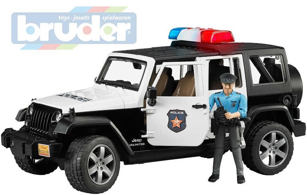 BRUDER 02526 (2526) Auto jeep Wrangler Rubicon Policie + figurka model 1:16
