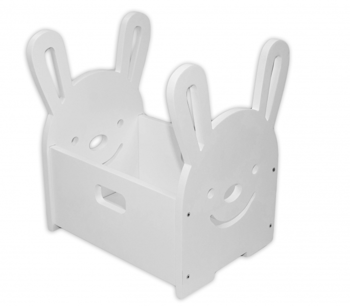 NELLYS Dřevěný box na hračky Zajíček - bílý