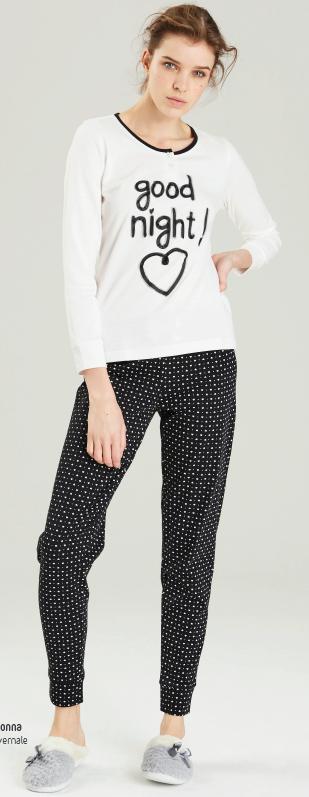 Dámské pyžamo 6303 Noidinotte - Černá s bílou/M