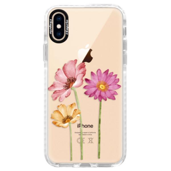 Silikonové pouzdro Bumper iSaprio - Three Flowers - iPhone XS