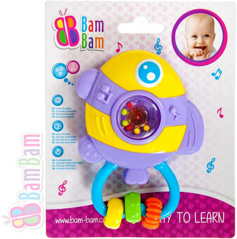 ET BAM BAM Chrastítko plastové RYBKA s melodií pro miminko Zvuk