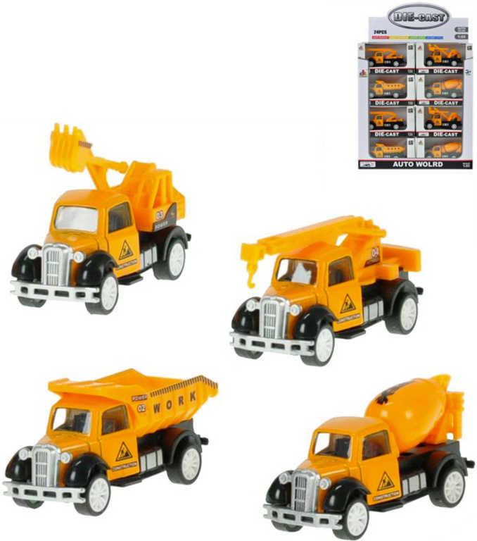 Vozidlo stavební oranžové 9 cm 1:55 zpětný chod - 4 druhy