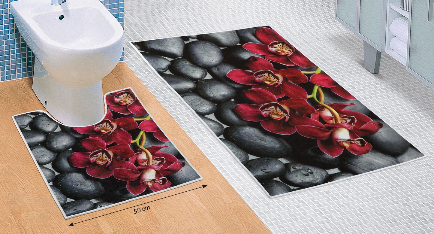 Koupelnová sada předložek 3D 60x100+60x50cm Orchidea