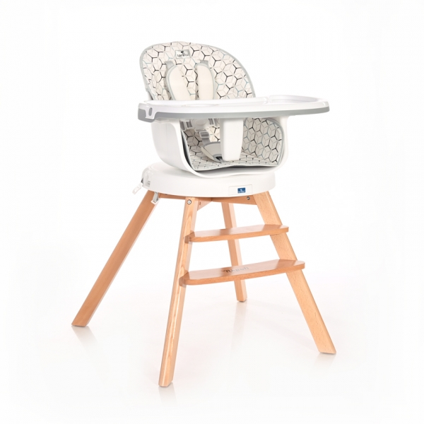 Jídelní židlička Lorelli NAPOLI WITH ROTATION GREY HEXAGONS
