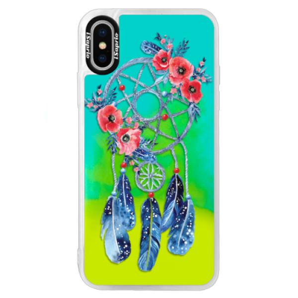 Neonové pouzdro Blue iSaprio - Dreamcatcher 02 - iPhone X